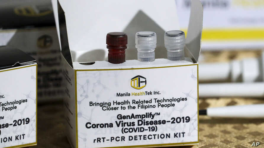A newly developed SARS CoV-2 detection kit by University of the Philippines scientists is shown during a press conference in…