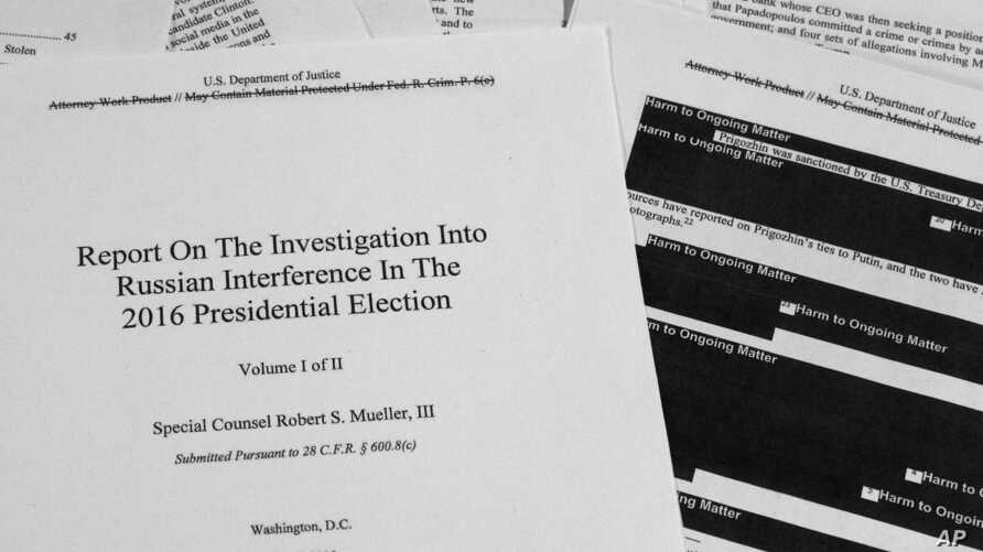 FILE - In this April 18, 2019, file photo, special counsel Robert Mueller's redacted report on Russian interference in the 2016…