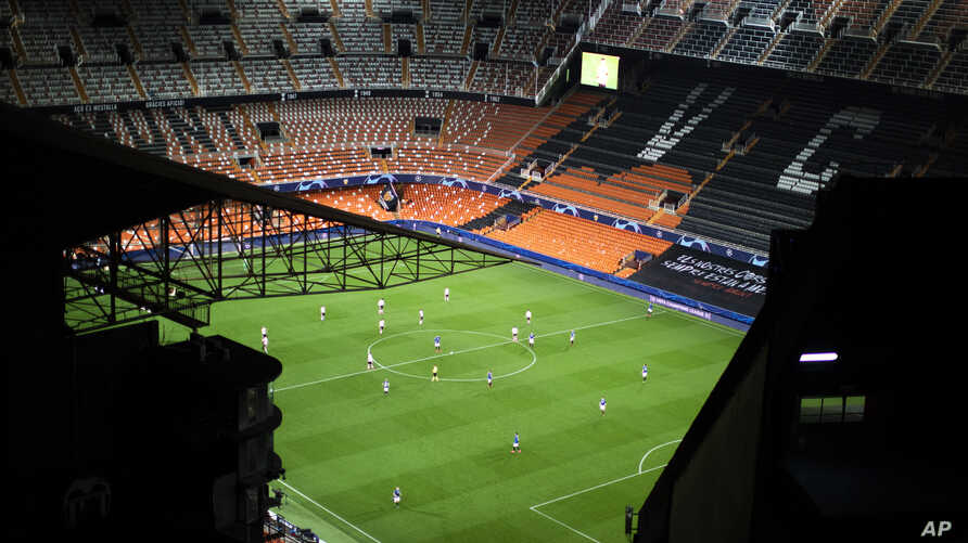 General view of the Mestalla stadium during the Champions League round of 16 second leg soccer match between Valencia and…