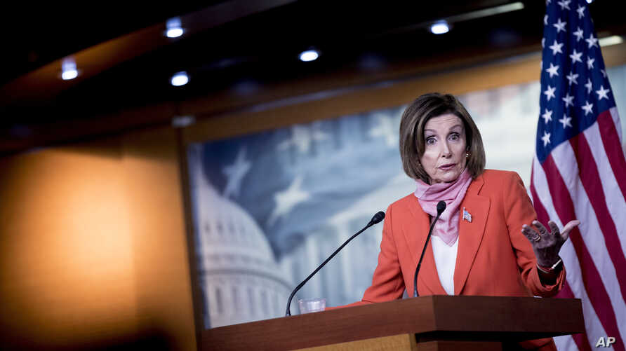 House Speaker Nancy Pelosi of Calif., speaks during a news conference on Capitol Hill, Friday, April 24, 2020, in Washington. …
