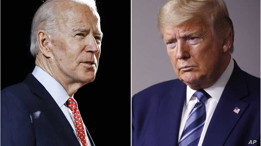 FILE - In this combination of file photos, former Vice President Joe Biden speaks in Wilmington, Del., on March 12, 2020, left,…