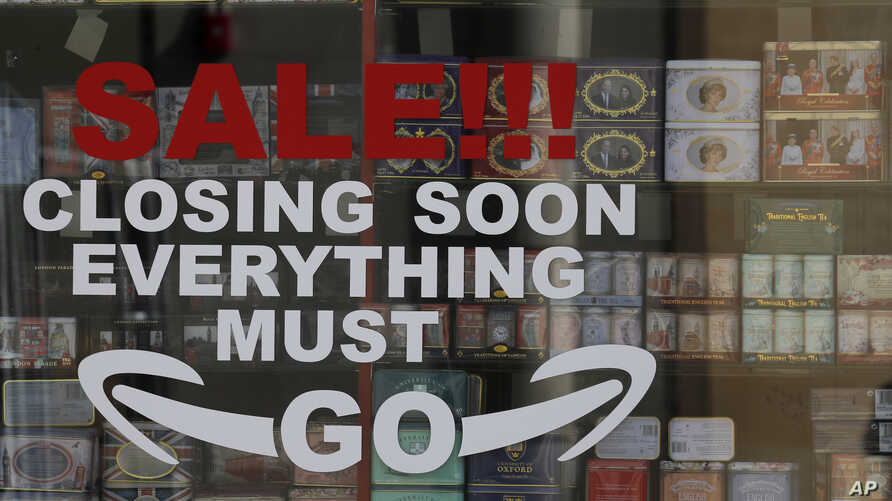 A closing down sign on a shop front in London, as the country is in lockdown to help curb the spread of the coronavirus,…