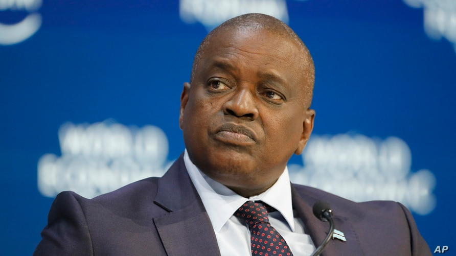 Botswana's President Mokgweetsi Eric Keabatswe Masisi tales part in a panel discussion at the World Economic Forum in Davos,…
