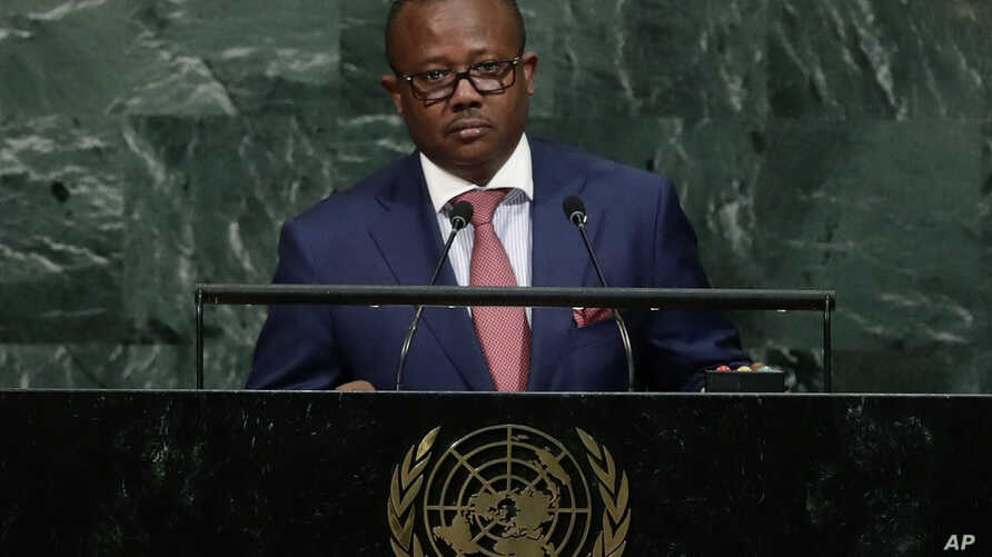 File - In this Thursday, Sept. 21, 2017 file photo Umaro Sissoco Embalo, then Prime minister of Guinea-Bissau, addresses the…
