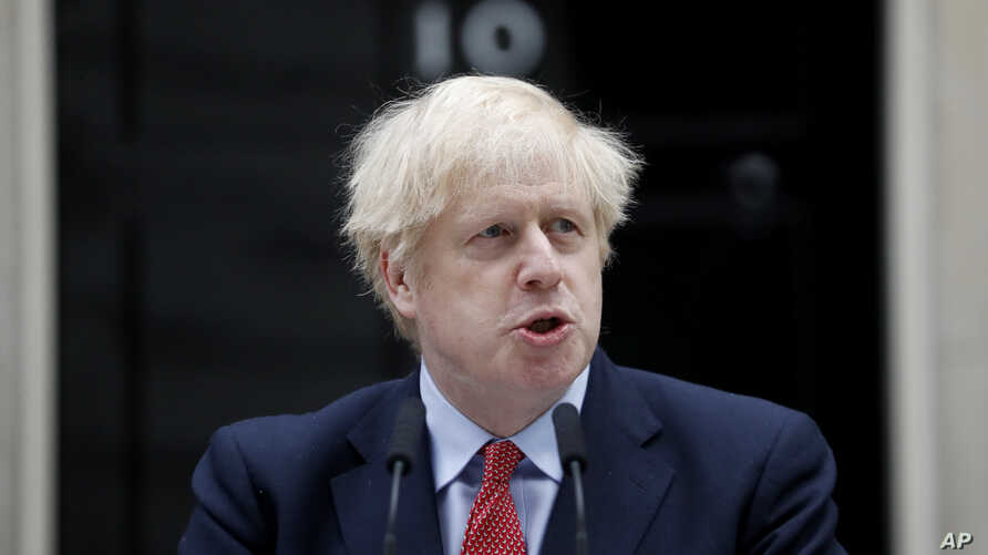 British Prime Minister Boris Johnson makes a statement on his first day back at work in Downing Street, London, after…