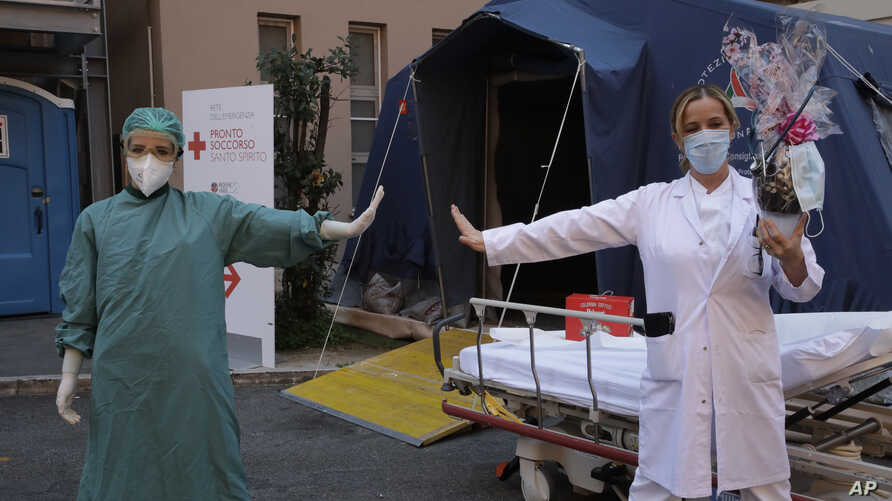 Monica Carfora, right, deputy head of the emergency of the Santo Spirito Hospital, which now has a separate emergency for…