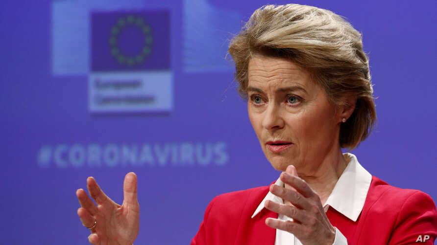 European Commission President Ursula von der Leyen speaks during a media conference, detailing EU efforts to limit the economic…