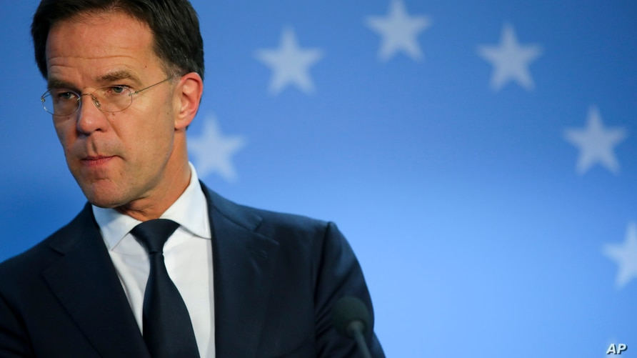 Dutch Prime Minister Mark Rutte speaks during a media conference at the end of an EU summit in Brussels, Friday, Feb. 21, 2020…