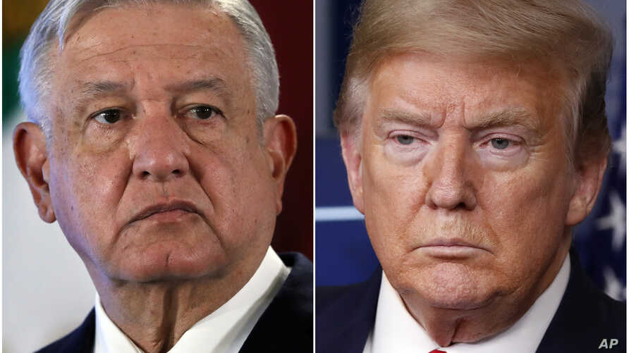 This combination of file photos shows Mexican President Andres Manuel Lopez Obrador, left, on Nov. 29, 2019, in Mexico City and…