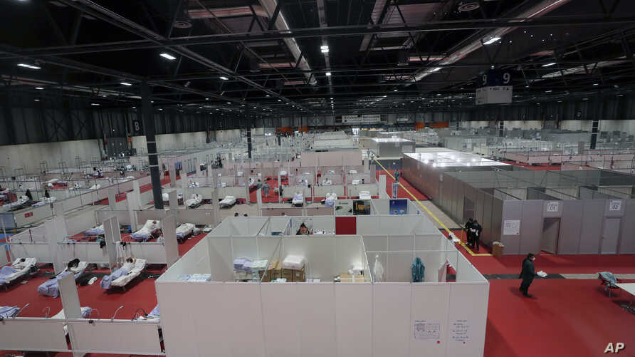 A general view a temporary field hospital set at Ifema convention and exhibition of in Madrid, Spain, Thursday, April 2, 2020…