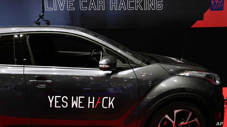 A Toyota Hybrid during a test for hackers at the Cybersecurity Conference in Lille, northern France, Wednesday Jan. 29, 2020…
