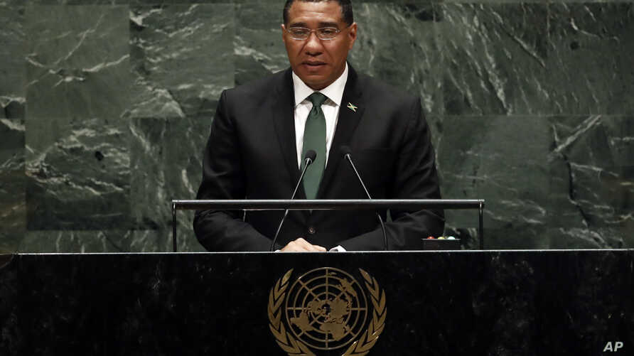 Jamaica's Prime Minister Andrew Holness addresses the 74th session of the United Nations General Assembly, Friday, Sept. 27,…