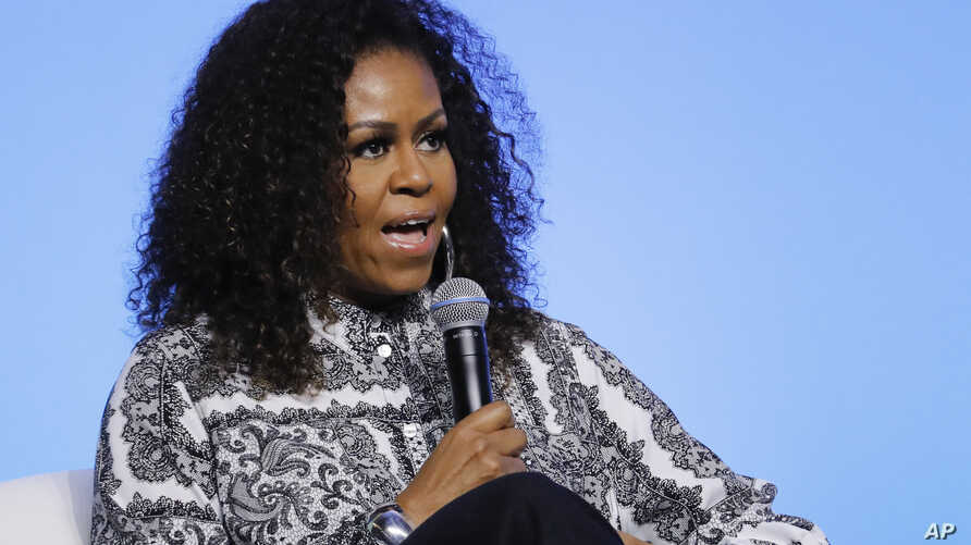 FILE - In this Dec. 12, 2019, file photo, former first lady Michelle Obama speaks during an event for Obama Foundation in Kuala…