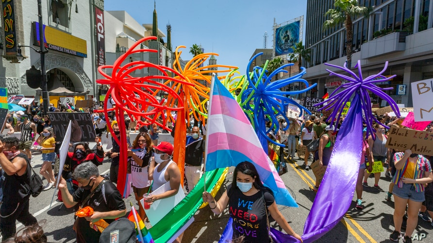 "People gather in Hollywood for an ""All Black Lives Matter"" march, organized by black members of the LGBTQ+ community in the…"