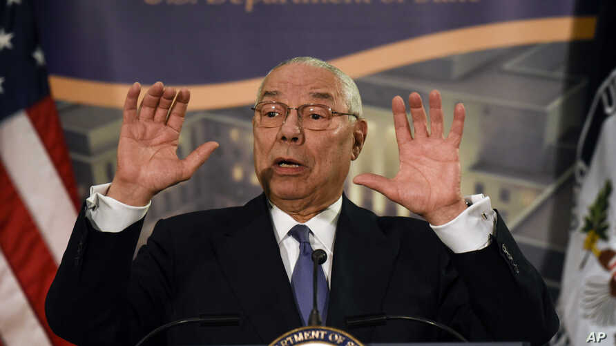Former Secretary of State Colin Powell speaks at a reception celebrating the completion of the U.S. Diplomacy Center Pavilion…