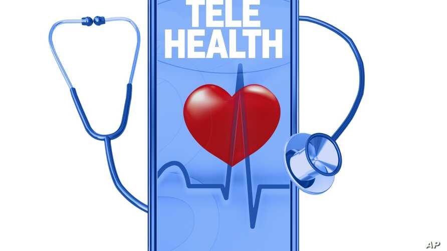 TELEHEALTH lettering with stethoscope and mobile phone, drawing, graphic element on white