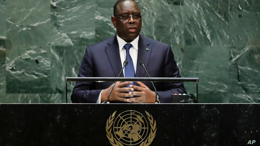 FILE - In this Tuesday, Sept. 24, 2019 file photo, Senegal's President Macky Sall addresses the 74th session of the United…