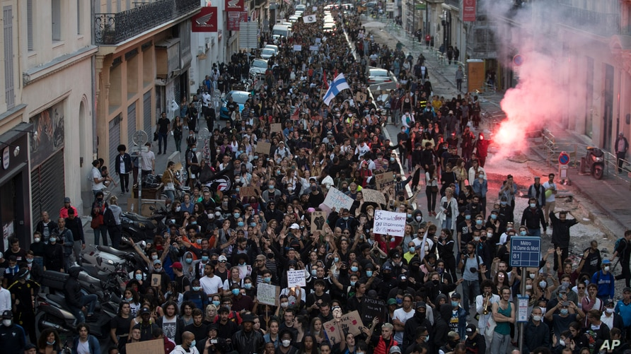 Protesters march against police brutality and racism in Marseille, France, Saturday, June 13, 2020, at a demonstration…