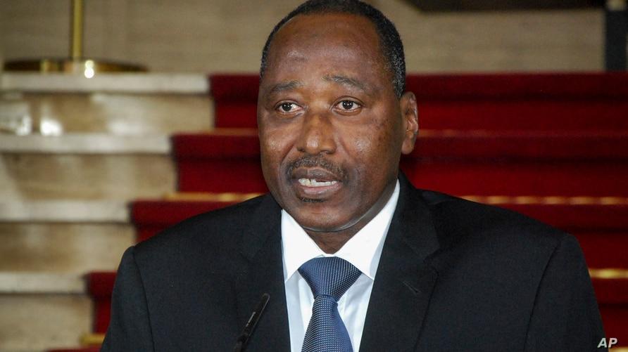 Amadou Gon Coulibaly, then secretary general of the presidency, speaks at the presidential palace in Abidjan, Ivory Coast…