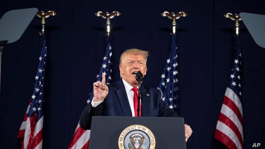 President Donald Trump speaks at Mount Rushmore National Memorial, Friday, July 3, 2020, near Keystone, S.D. (AP Photo/Alex…