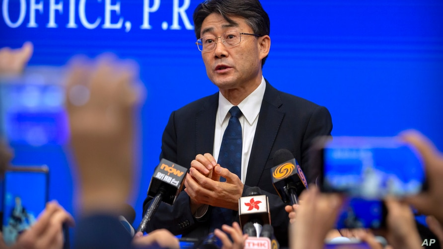 Gao Fu, the head of the Chinese Center for Disease Control and Prevention (China CDC), speaks to journalists after a press…