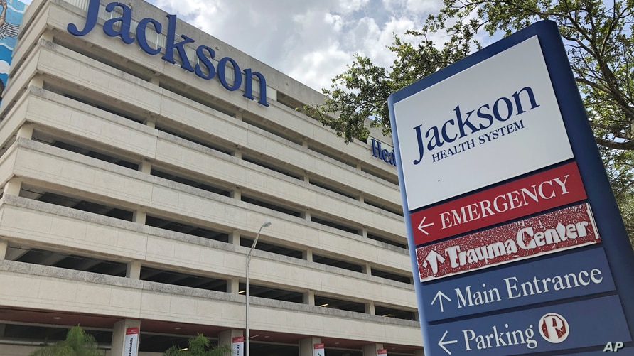 An entrance at Jackson Memorial Hospital is shown, Thursday, July 9, 2020, in Miami. Florida reported on Thursday the biggest…
