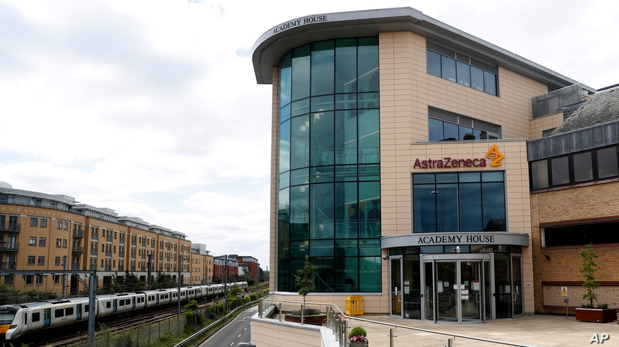 A general view of AstraZeneca offices and the corporate logo in Cambridge, England, Saturday, July 18, 2020. An Oxford…