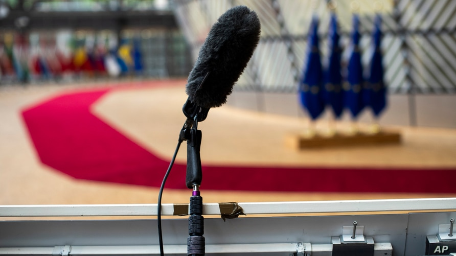 In house camera's and a microphone are set up at the arrivals area for EU leaders at the European Council building in Brussels,…