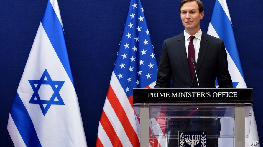 White House adviser Jared Kushner and Israeli Prime Minister Benjamin Netanyahu make joint statements to the press about the…