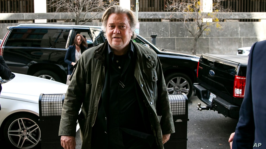 FILE - In this Nov. 8, 2019 file photo, former White House strategist Steve Bannon arrives to testify at the trial of Roger…