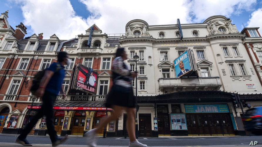 Theaters in the West End are closed due to the Coronavirus outbreak, in London, Saturday, Aug. 1, 2020. Prime Minister Boris…