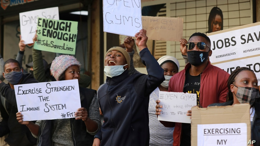 People working in the fitness industry protest in Cape Town, South Africa, Wednesday August 5, 2020. The industry's governing…
