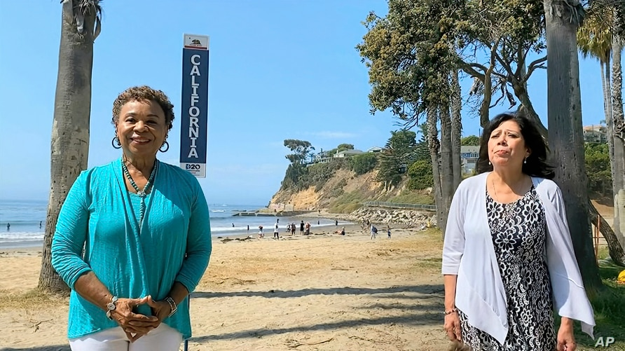 In this image from video, Rep. Barbara Lee, D-Calif., left, and rep. Hilda Solis, D-Calif., speak during the state roll call…