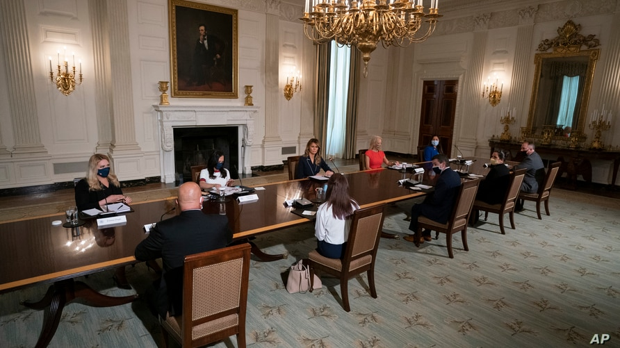 """First lady Melania Trump receives an Indian Health Service (IHS) Task Force briefing on """"Protecting Native American Children in…"""