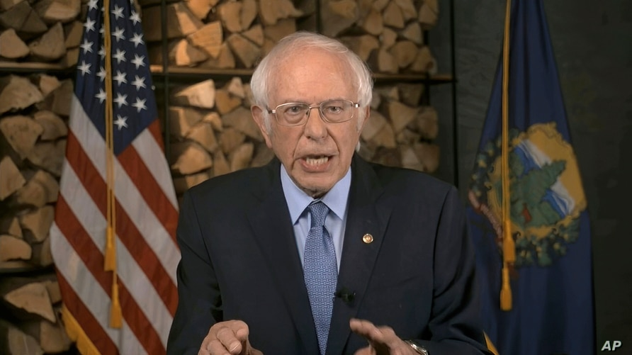 In this image from video, Sen. Bernie Sanders, I-Vt., speaks during the first night of the Democratic National Convention on…