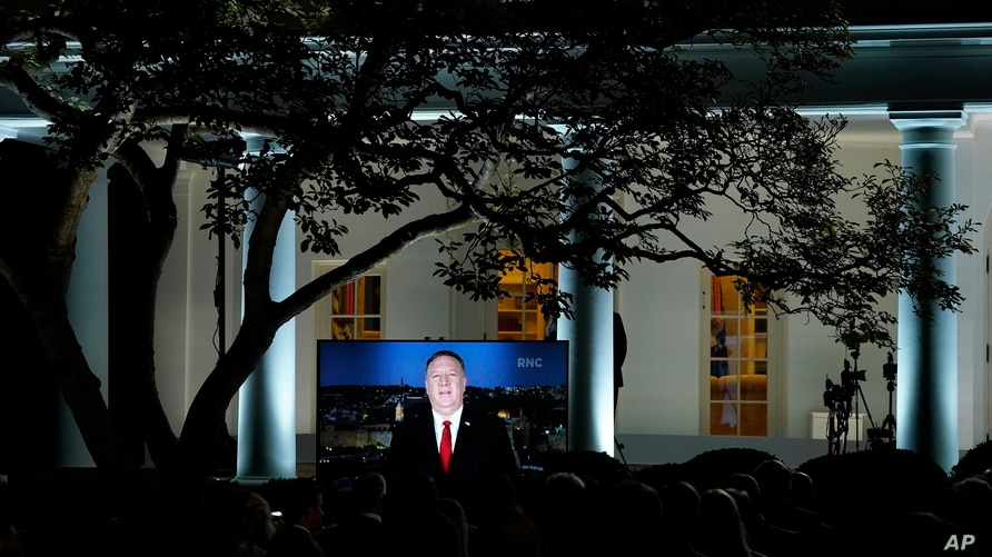 A video of Secretary of State Mike Pompeo speaking during the Republican National Convention plays from the Rose Garden of the…