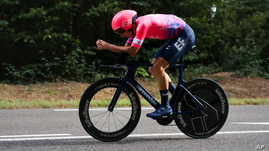 Neilson Powless of the US competes during stage 20 of the Tour de France cycling race, an individual time trial over 36.2…