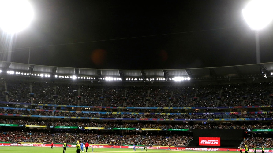 FILE - In this March 8, 2020, file photo, fans nearly fill the Melbourne Cricket Ground during the Women's T20 World Cup…