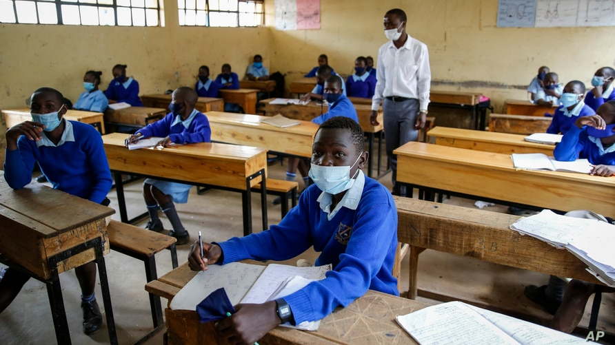Schoolchildren attend class at the Olympic Primary School in Kibera, one of the capital Nairobi's poorest areas, in Kenya…