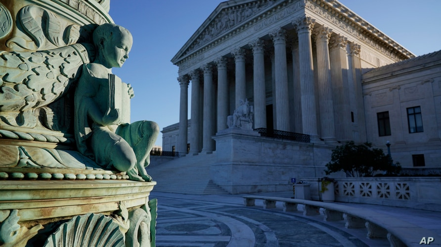 In this Oct. 5, 2020, photo the Supreme Court in Washington. Tech giants Google and Oracle are clashing at the Supreme Court in…