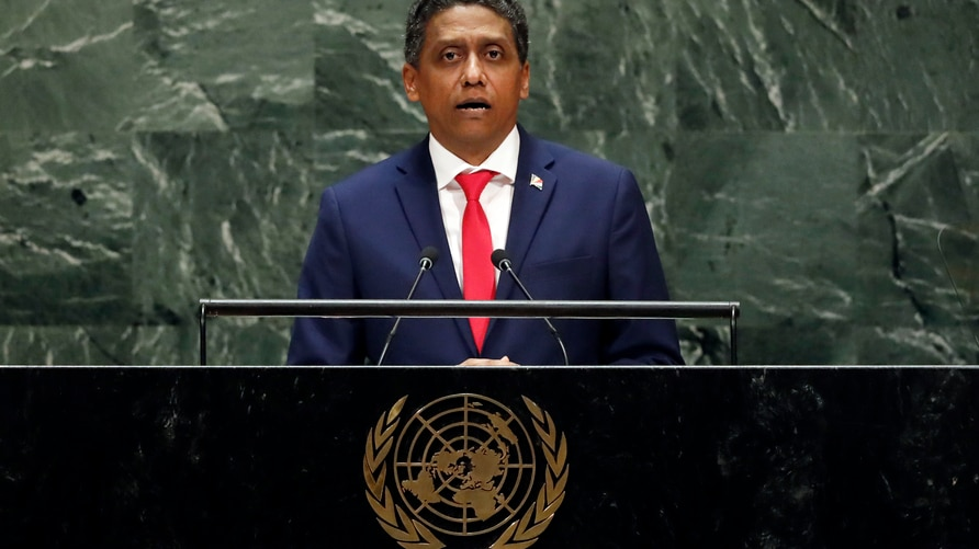 Seychelles President Danny Faure addresses the 74th session of the United Nations General Assembly, Wednesday, Sept. 25, 2019. …
