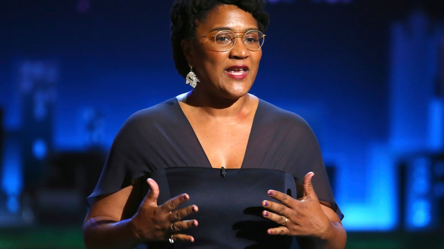 "FILE - In this June 11, 2017 file photo, Lynn Nottage introduces a performance by the cast of ""Sweat"" at the 71st annual Tony…"
