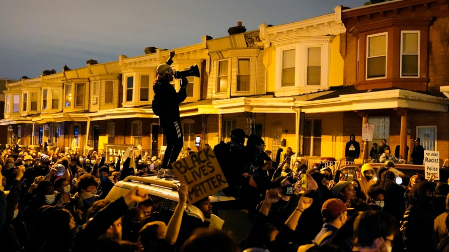 Protesters confront police during a march Tuesday Oct. 27, 2020 in Philadelphia. Hundreds of demonstrators marched in West…