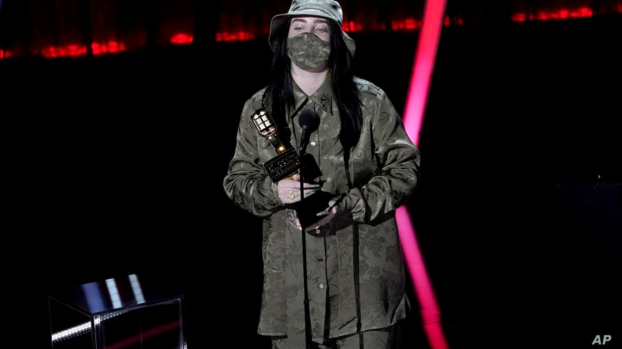 Billie Eilish accepts the award for top female artist at the Billboard Music Awards on Wednesday, Oct. 14, 2020, at the Dolby…