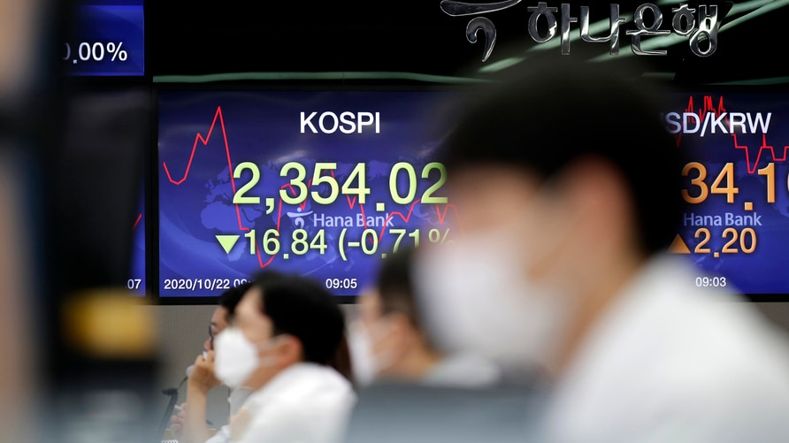 Currency traders watch computer monitors near the screens showing the Korea Composite Stock Price Index (KOSPI), left, and the…