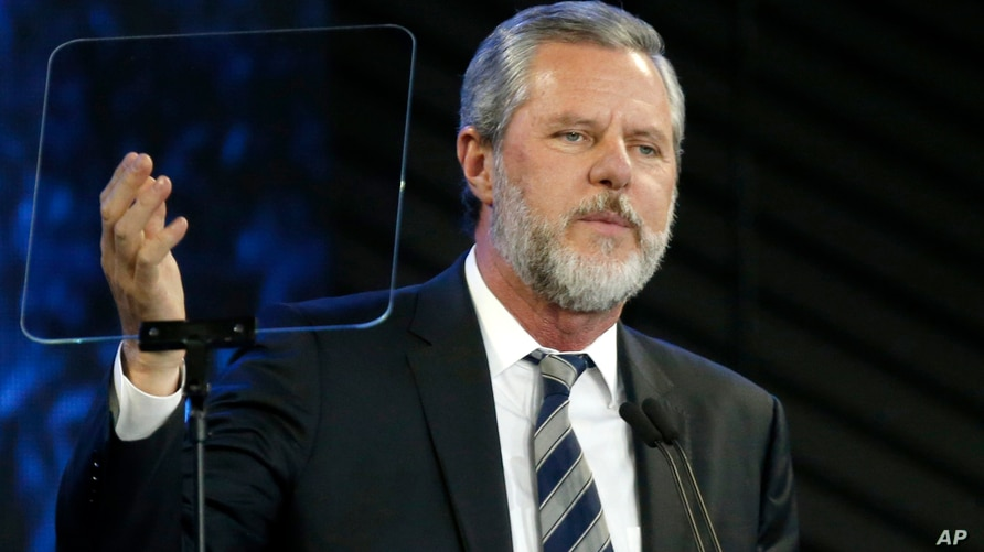 FILE - In this Nov. 28, 2018, file photo, Jerry Falwell Jr. speaks before a convocation at Liberty University in Lynchburg, Va…
