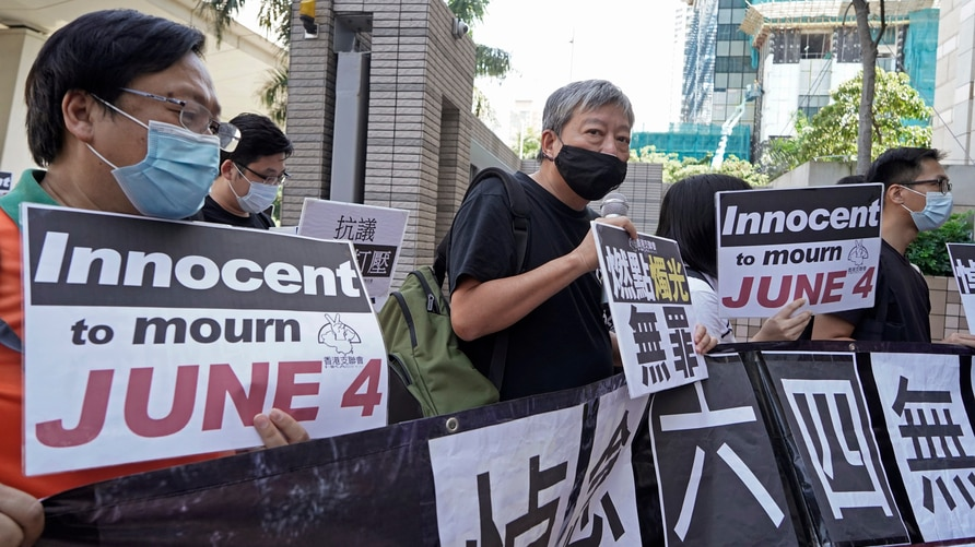 Various of groups of pro-democracy activists, including Lee Cheuk-Yan, center, arrive at a court in Hong Kong, Thursday, Oct…