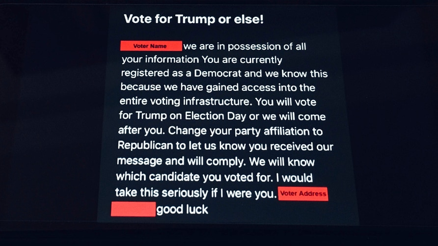 Photo by: STRF/STAR MAX/IPx 2020 10/22/20 Threatening emails have been received by Democratic voters insiting they vote for…