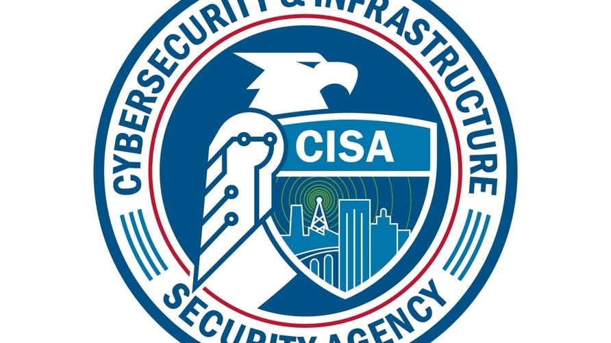 US Cybersecurity and Infrastructure Security Agency logo, graphic element on white