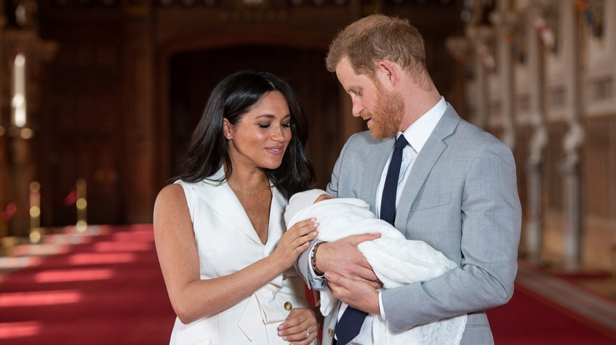 FILE - In this Wednesday May 8, 2019 file photo Britain's Prince Harry and Meghan, Duchess of Sussex, pose during a photocall…